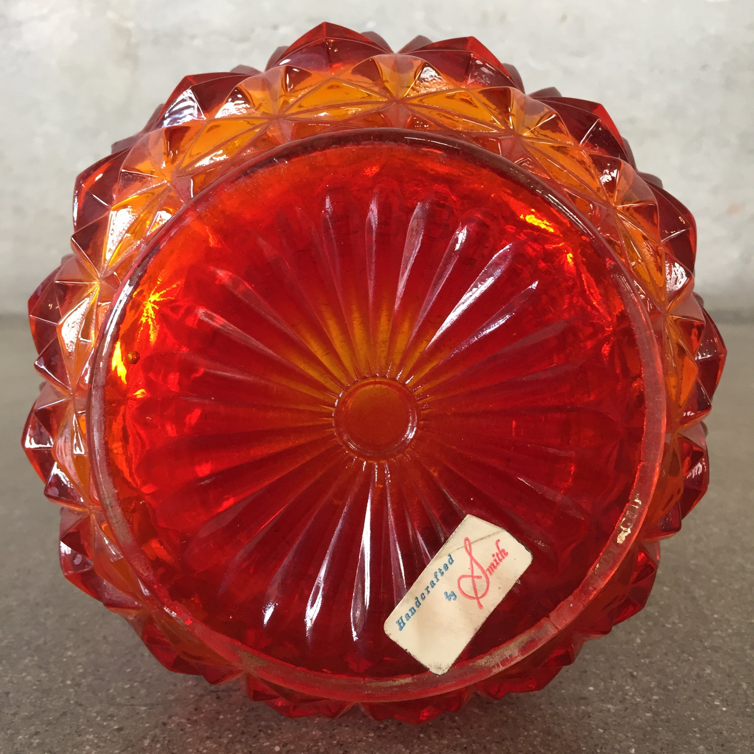 Tall Red/Amberina Swing Glass Vase