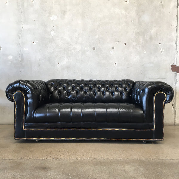 Black 1960's Chesterfield Sofa
