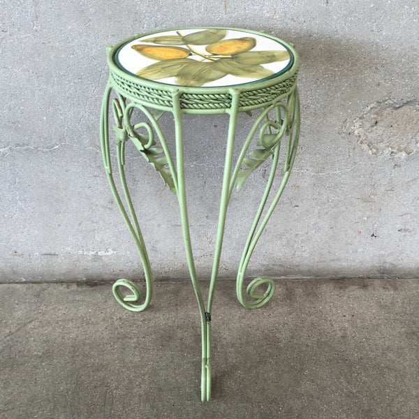 Green Tile Top Plant Stand