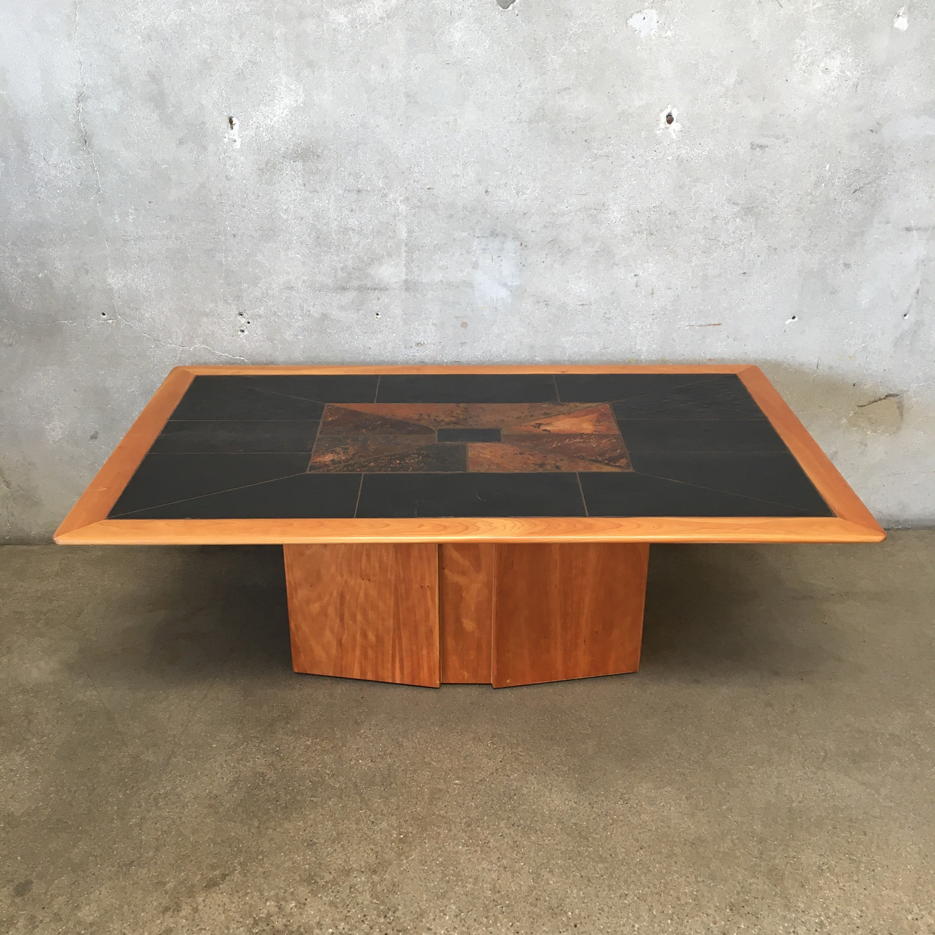 South African Cherry Wood Coffee Table With Inlaid Slate