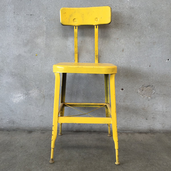 Vintage Metal Yellow Stool