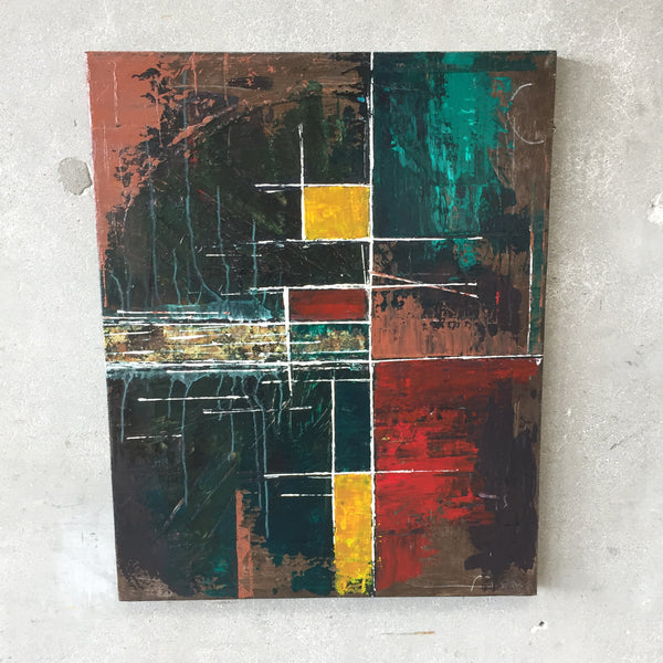 Mid Century Modern Style Brutalist Abstract Painting