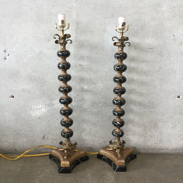 Pair of Tall Bronze Maitland Smith Feather and Claw Lamps