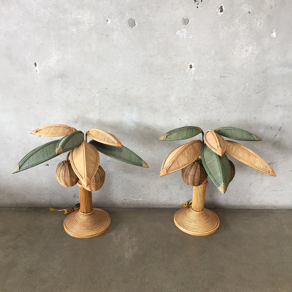 Pair 1970's Mario Lopez Torres Wicker Rattan Palm Tree Coconut Lamps