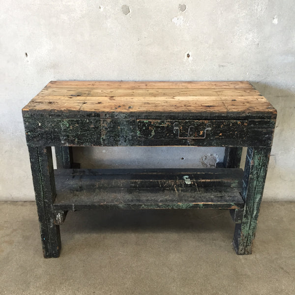 Vintage Rustic Wood Console with Green and Black Chippy Paint