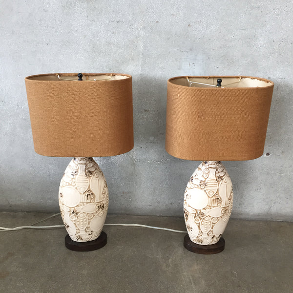 Pair Mid Century Modern Roku Ceramic Fish Art Lamps
