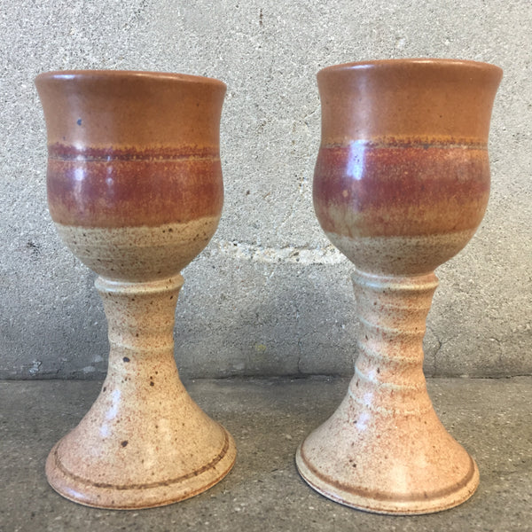 Pair of Studio Pottery Ceramic Goblets