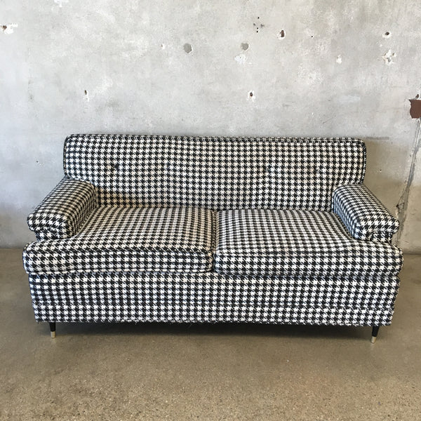 Mid Century Houndstooth Upholstered Love Seat