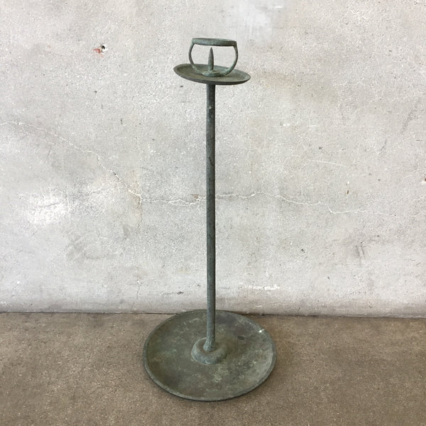 Vintage Heavy Patina Large Candle Holder