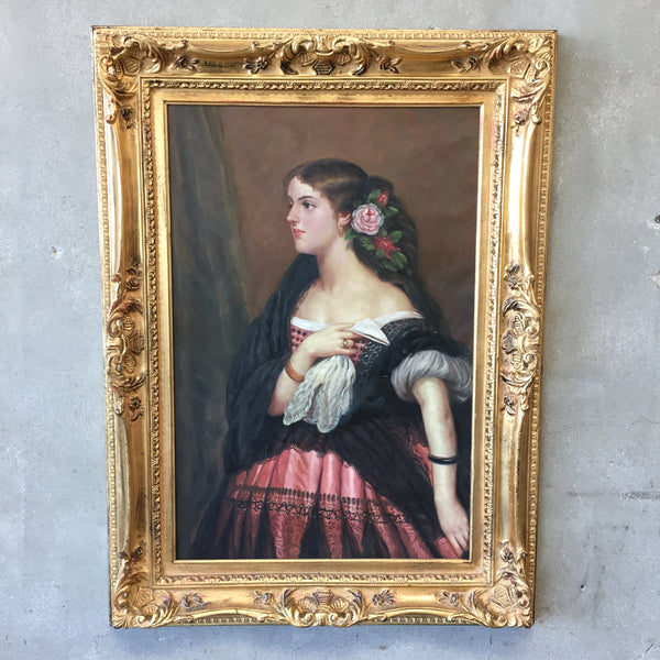 Original Signed Oil Painting of Young Spanish Woman