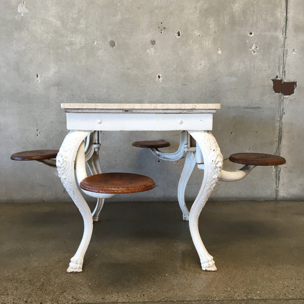 Vintage Cast Iron Ice Cream Parlor Table & Swing Chairs