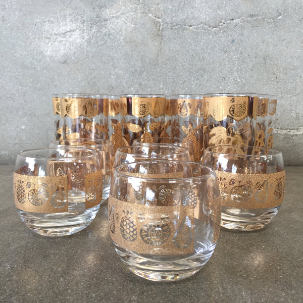 Set of 16 Vintage Culver 24K Gold Plate Bar Ware Glasses