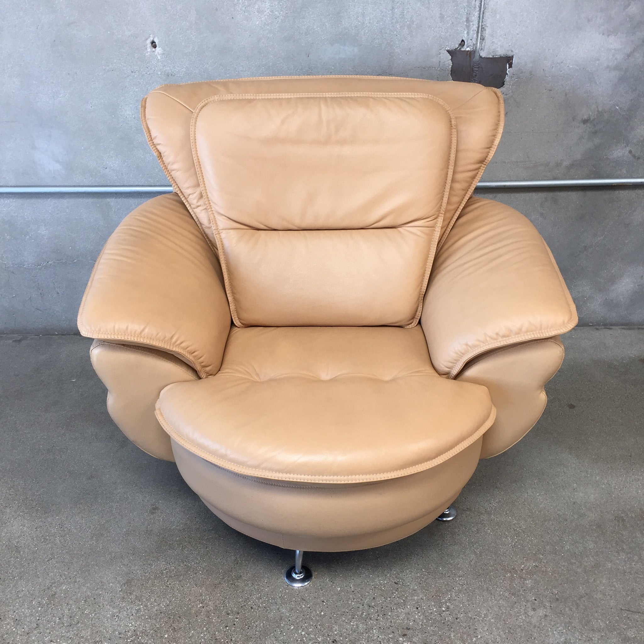 Mid Century Saddle Color Swivel Sofa Loveseat and Chair Set
