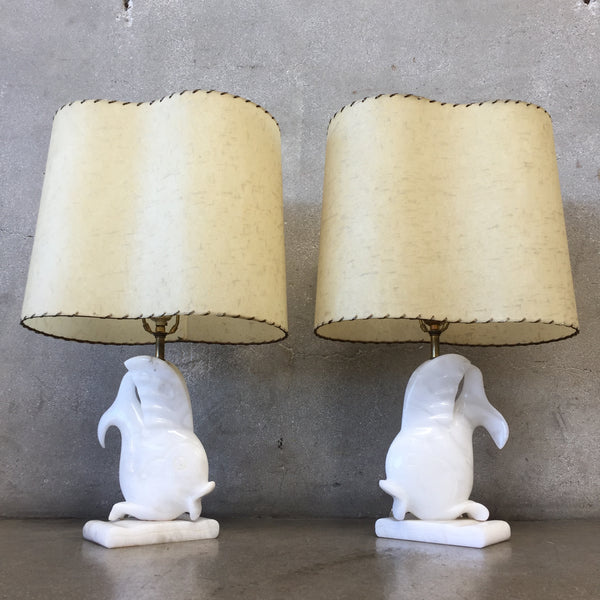 Pair of Alabaster Fish Lamps