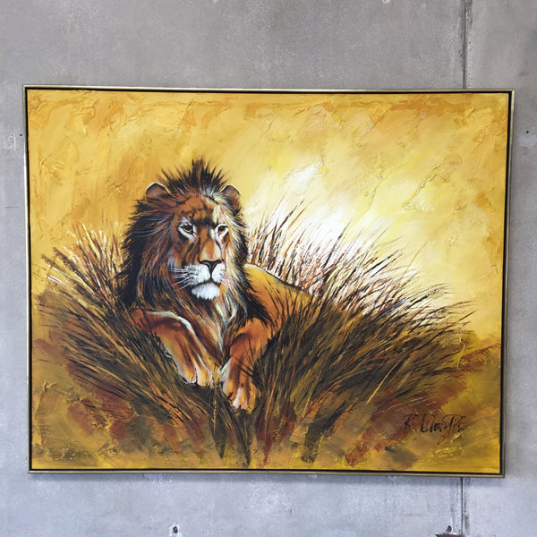 Vintage 1970's Lion Painting by R. Delongpre