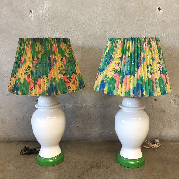 Pair of 1970's White Ginger Jar Shape Lamps