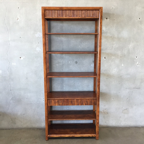 Solid Wood Open Shelving with Bamboo Detailing & Drawer