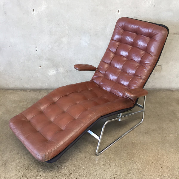 Vintage 1980's Leather Danish Chaise Lounge by Dux