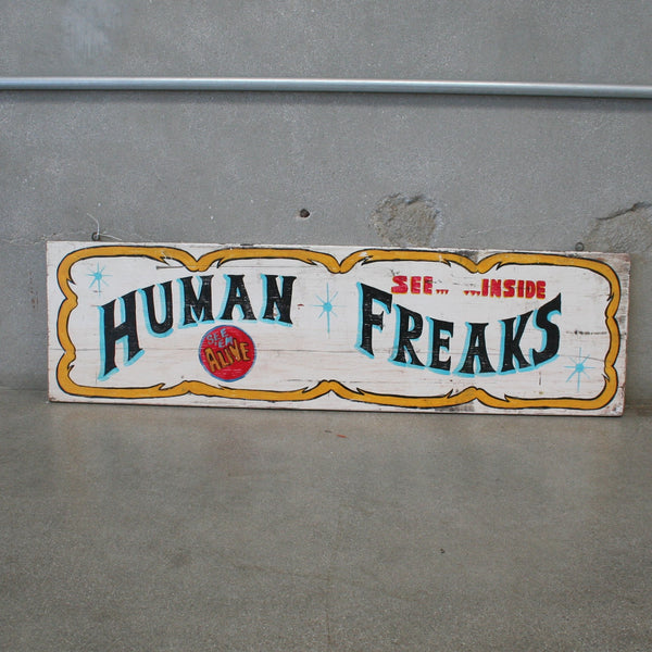Human Freaks Wooden Carnival Sign