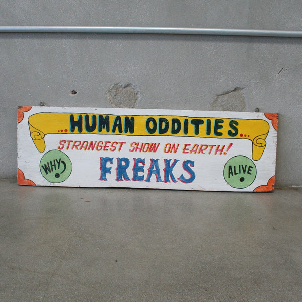 Human Oddities Wooden Carnival Sign
