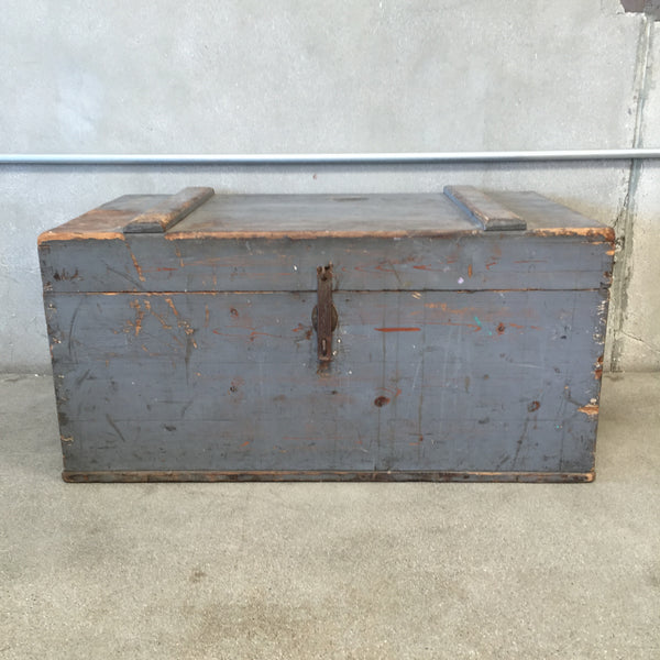 Antique Grey Wood Chest