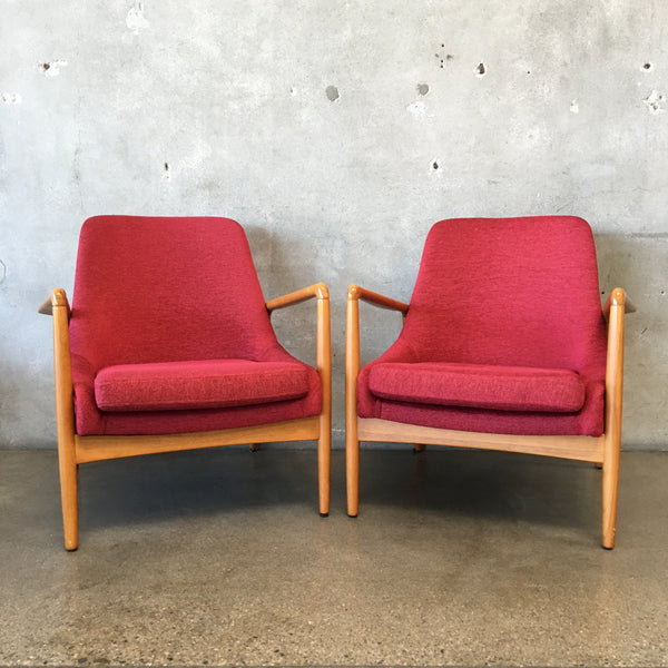 Pair of Mid Century Style Red Arm Chairs