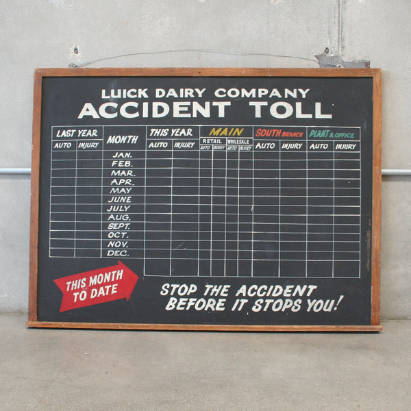Luick Dairy Accident Toll Sign