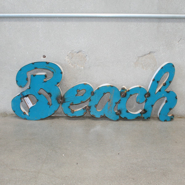 Blue Metal Beach Sign