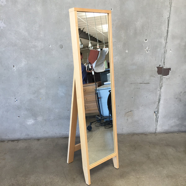 Vintage Modern Blonde Maple Wood Standing Mirror