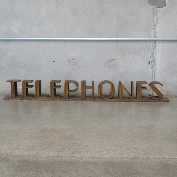 Art Deco Wooden Telephone Sign