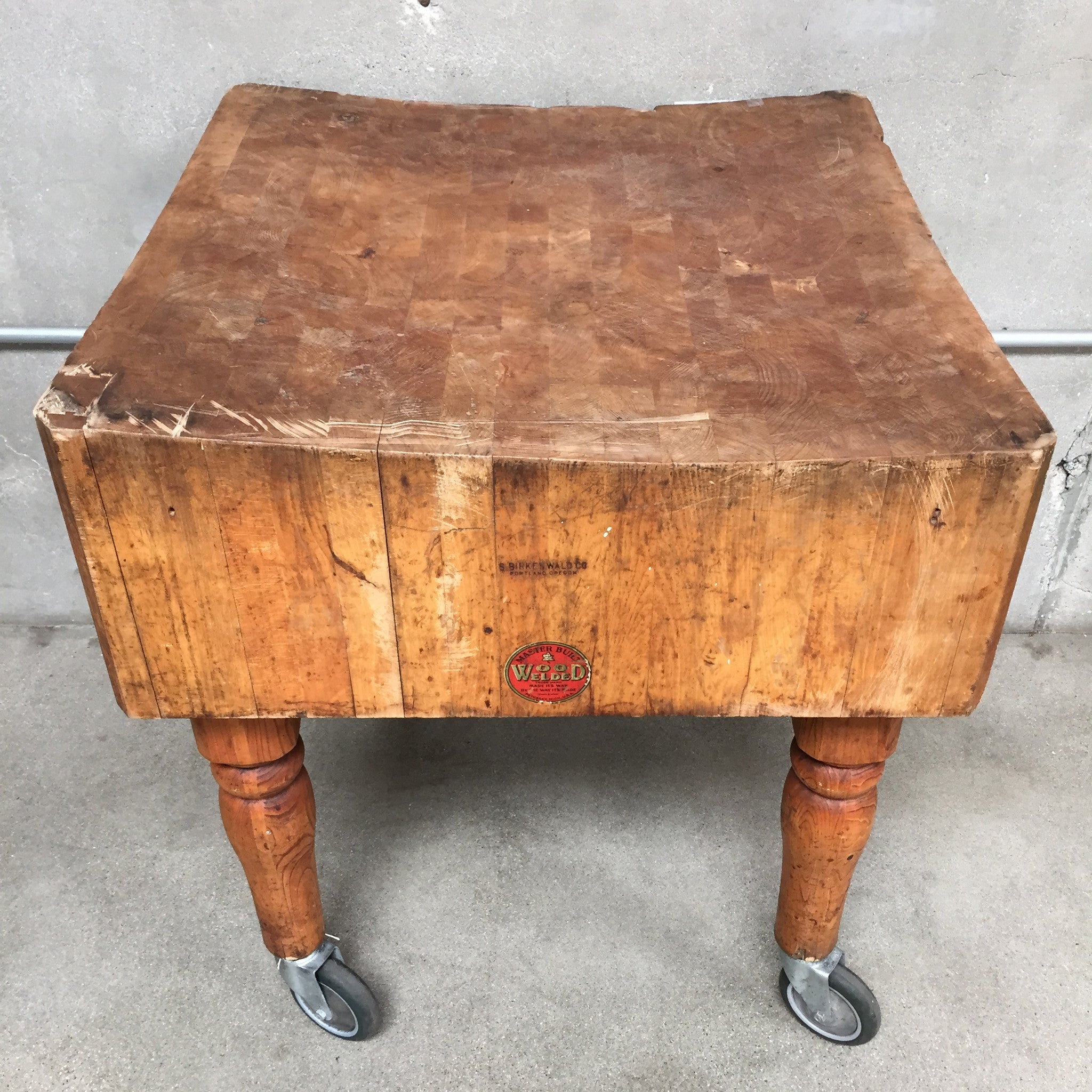 Vintage Butcher Block Table On Casters