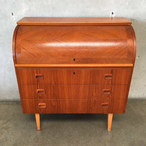 Mid Century Swedish Roll Top Desk