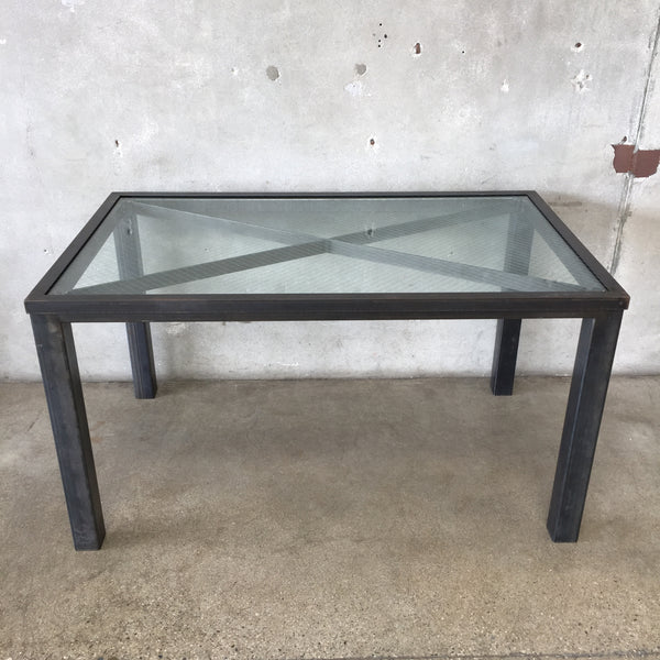 Industrial Glass Top Dining Table