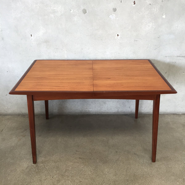 Mid Century Modern Danish Dining Table With Draw Leaf