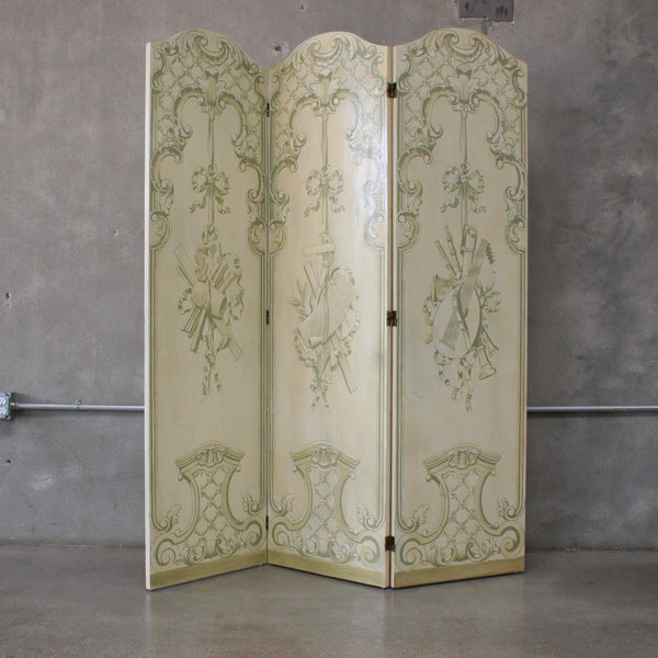 Vintage Hand Painted Tri Fold Room Divider/ Dressing Screen
