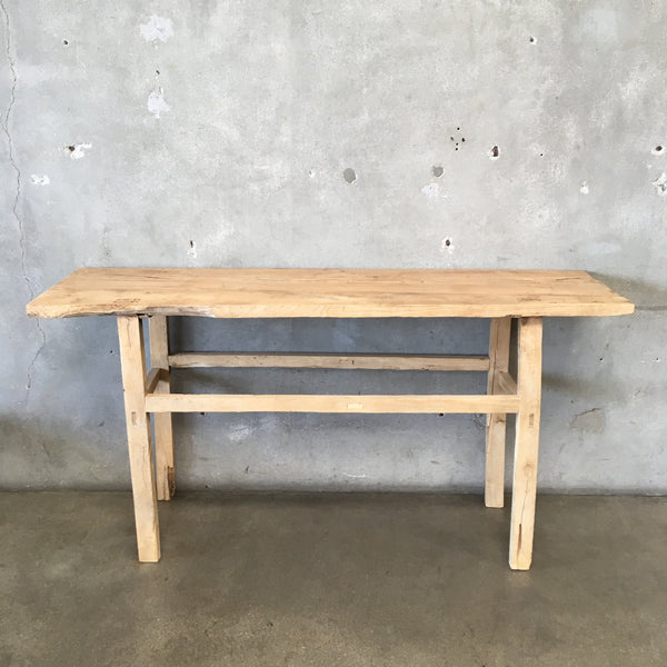 Vintage Elm Wood Console Table