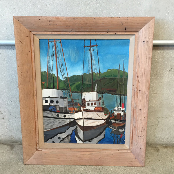 """Boats"" Original Oil On canvas Signed Local Artist"