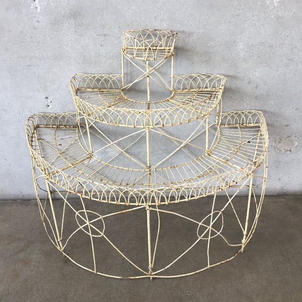 1940's Wedding Cake Wire Three Tier Plant Stand