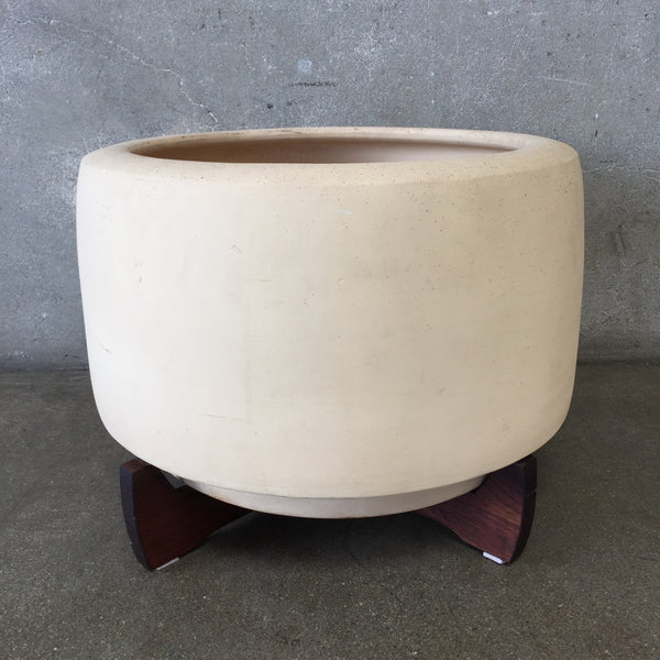 Architectural Pottery Tire Pot with Red Wood Stand