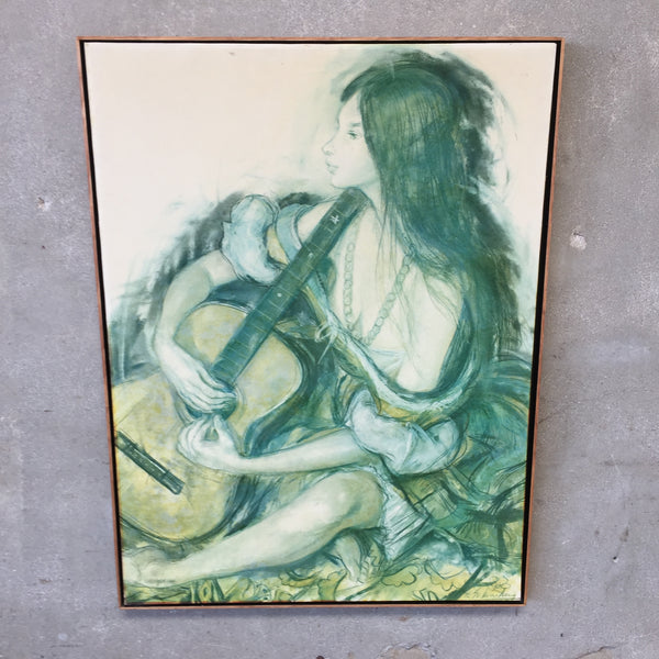 "1970's Large Signed Charcoal Pastel on Canvas ""Guitar Girl"""