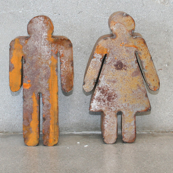 Man and Woman reclaimed Tin Figures