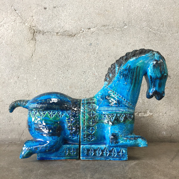 Mid Century Horse Bitossi Bookends by Aldo Londi