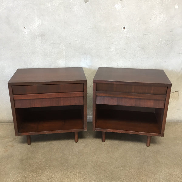 Mid Century Modern Walnut Nightstands by Lane