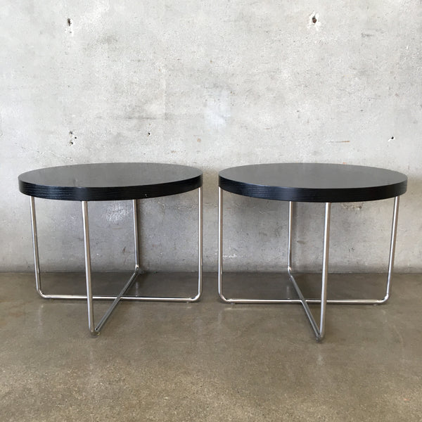 Pair of Black & Chrome End Tables