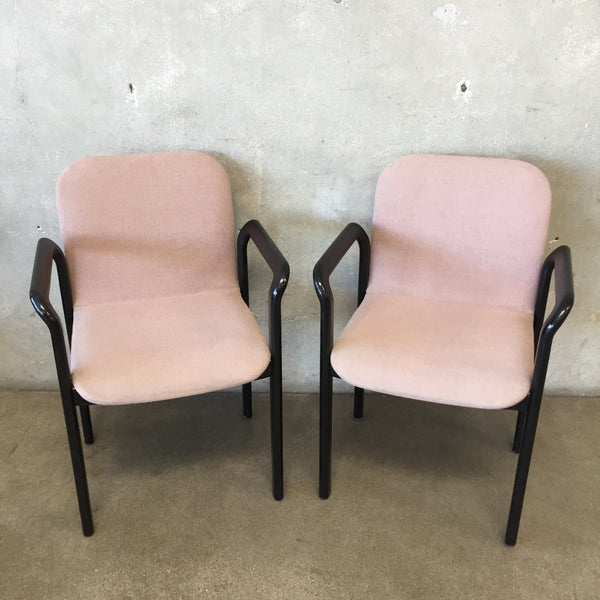 Pair of 1980's Black Lacquered Armchairs