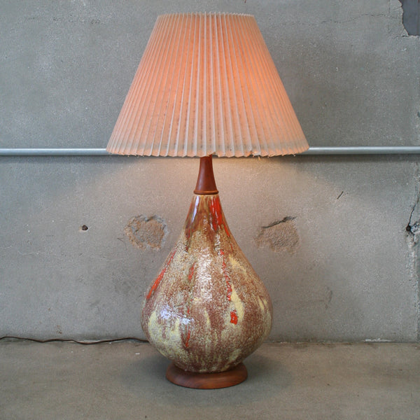 Mid Century Orange and Brown Ceramic Lamp