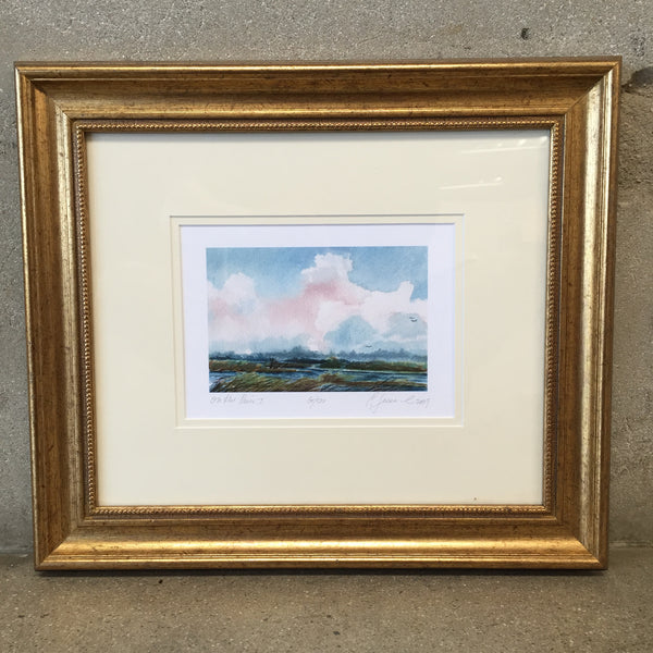 "Gold Framed Water Color ""On the River"""