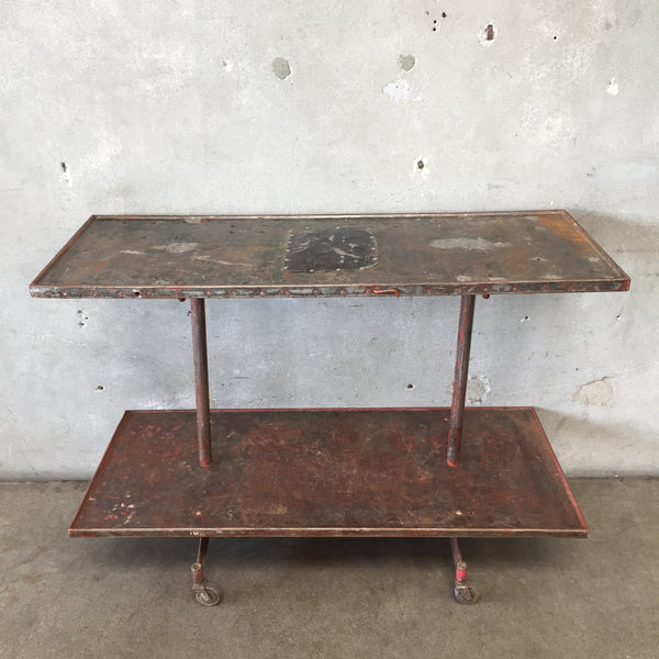 Vintage Industrial Rolling Shelf Unit