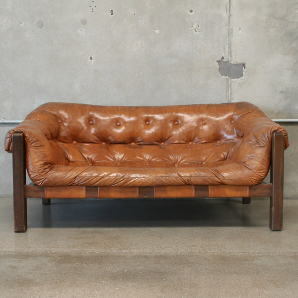 Mid Century Vinyl Sofa in the Manner of Percival Lafer