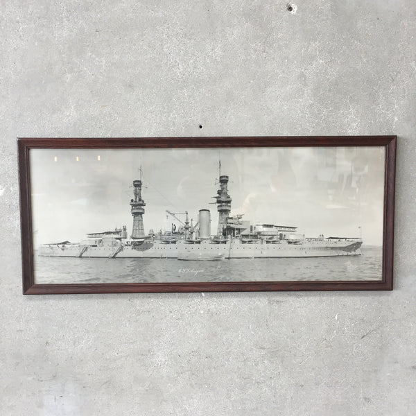 Framed Vintage USS Arizona Battleship Black & White Photo